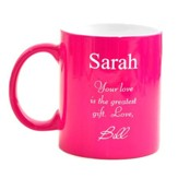 Personalized, Ceramic Mug, Your Love, Pink