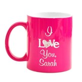 Personalized, Ceramic Mug, I Love You, Pink
