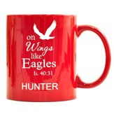 Personalized, Ceramic Mug, On Wings Like Eagles, Red