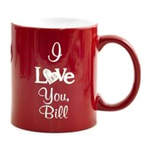 Personalized, Ceramic Mug, I Love You, Red