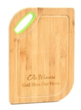 Personalized, Bamboo Cutting Board, God Bless, Green