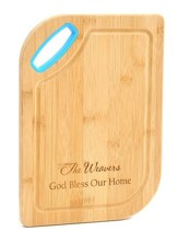 Personalized, Bamboo Cutting Board, God Bless, Blue