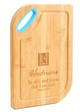 Personalized, Bamboo Cutting Board, Be Still, Blue