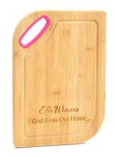 Personalized, Bamboo Cutting board, God Bless, Pink