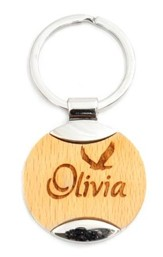 Personalized, Wooden Keychain, Eagle, Circle