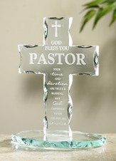 Pastor Appreciation Standing Glass Cross `