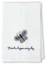 Miracles Happen Waffle Weave Towel (Butterfly)