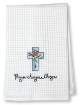 Prayer Changes Things Waffle Weave Towel (Cross)
