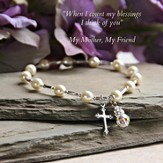 Mother Bracelet with Cross and Crystal drop stretchy