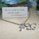 Cross And Butterfly Necklace , Walk By Faith