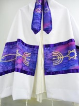 Purple Prayer Shawl with Messianic Symbol