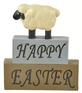 Happy Easter, Sheep, Block Figure