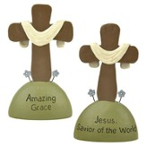 Jesus Savior Of the World, Amazing Grace, Set of 2 Tabletop Crosses