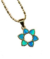 Heart Star of David Black Opal Pendant