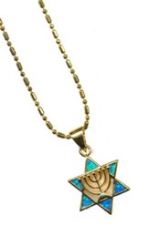Menorah in Star of David Black Opal Pendant