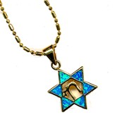 Chai Star of David Pendant, Black Opal
