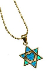 Black Opal Star of David Heart Pendant