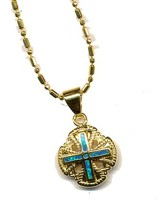Jerusalem Cross Black Opal Pendant Rounded