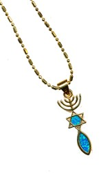Messianic Sign Pendant Black Opal