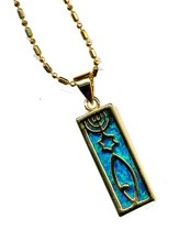 Messianic Sign Black Opal Square Pendant