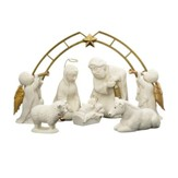 Holy Night Nativity Set White & Gold 8 Pieces