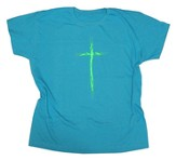 Green Thorns Cross Shirt, Blue, Large