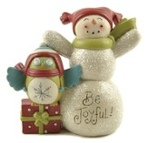 Be Joyful, Snowman and Owl Figurine
