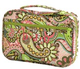 Quilted Paisley Bible Cover, Pink and Green, Extra Large