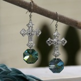 Crystal Filigree Cross Earrings