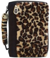 Leopard Fur Bible Cover with a Cross Zipper, X-Large
