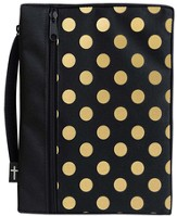 Canvas Bible Cover, Black with Gold Dot, Medium