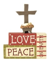 Love, Peace Block Figurine