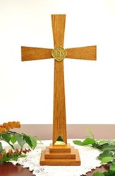 Solid Oak Altar Cross with Brass Accents (24 inch)