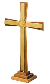Solid Oak & Brass Altar Cross