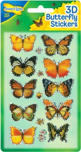 3D Butterfly Stickers, Pack of 10