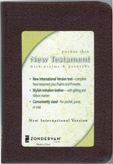 NIV Pocket Thin New Testament with Psalms & Proverbs, Bonded leather, burgundy  1984
