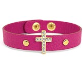 Bling Cross Leather Bracelet, Pink