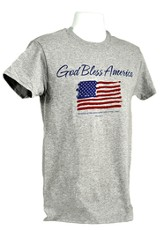 God Bless America, Flag Shirt, Grey, Large