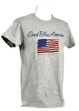 God Bless America, Flag Shirt, Grey, Small