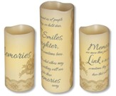 Abiding Light LED Candles, Vanilla Scented, Memories, 3 Piece Set