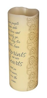 Abiding Light LED Candle, Vanilla Scented, Footprints, 8x3