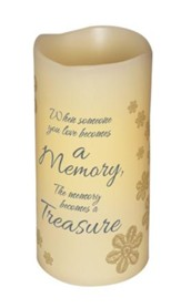 Abiding Light LED Candle, Vanilla Scented, A Memory Becomes A Treasure, 6x3