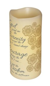 Abiding Light LED Candle, Vanilla Scented, Serenity Prayer, 6x3