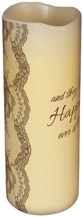 Everlasting Glow LED Candle, Vanilla Scented, Happily Ever After, 8x3