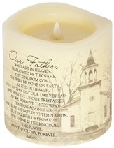 Everlasting Glow LED Candle, Vanilla Scented, The Lord's Prayer, 6x6