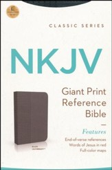 NKJV Personal Size Giant Print End of Verse Reference Bible, Imitation leather, black