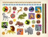 Camp Kilimanjaro VBS Safari Animal/African Design Stickers  (Pack of 10)
