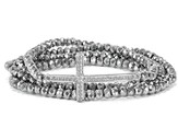 Cross Stretch Wrap Bracelet, Silver