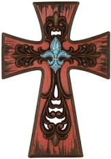 Rustic Wall Cross with Fleur De Lis