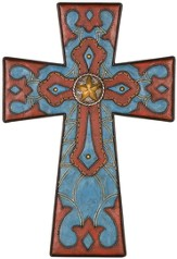 Western Leather Wall Cross with Star